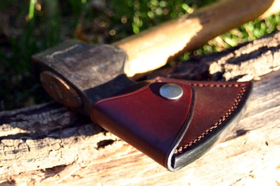Durable Leather Ax Axe Blade Cover Mask Sheath with Hook for Camping Outdoor P0