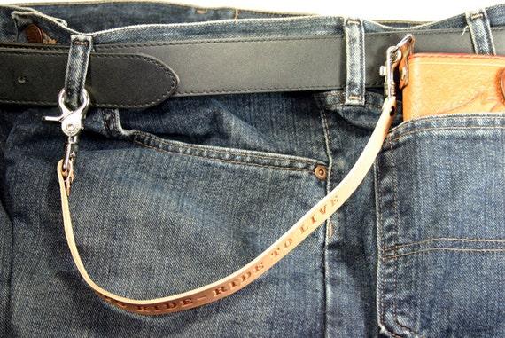 Chaîne portefeuille / Biker Wallet / chaîne de portefeuille camionneur / sangle en cuir pour portefeuille Long - n'importe quel texte au maximum 25 caractères