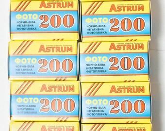 10 rolls of Astrum (Svema) Foto200 35mm black and white film, Negative film ISO 200. Unopened bw films.