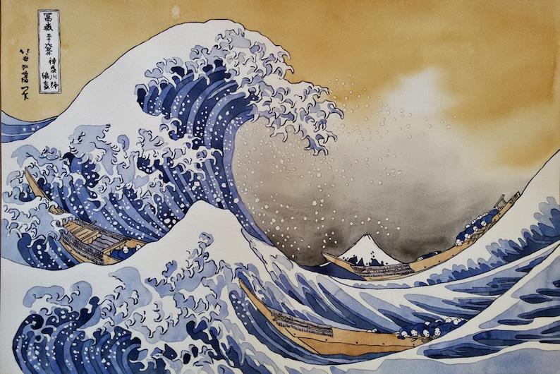 Die Große Welle Vor Kanagawa Reproduktion Original Aquarell Etsy