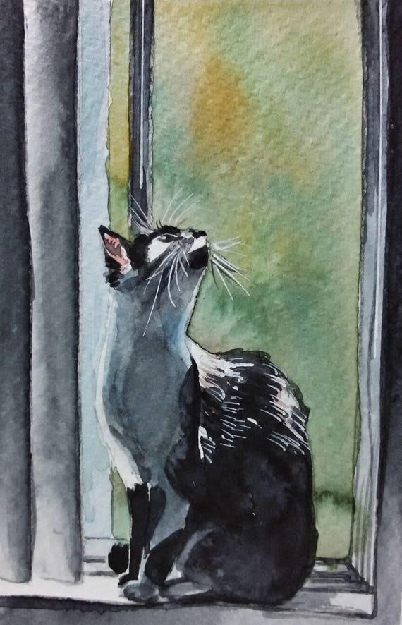 Cats /& Windows Miniature Art Original Watercolor Painting 12,5x17,5 cm Art Card Original Watercolor Artwork