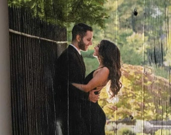Wedding and Engagement Picture on Wood - Custom Photo on Reclaimed Wood - Unique Rustic and Distressed Portraits