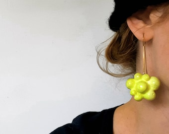 Yellow  Bubble earrings, Contemporary design jewelry , Atomic shape, silver 925, hand sculpted, Statement earrings, Funky, Gift for her