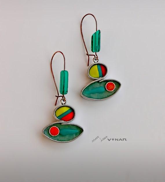 Colorful dangle earrings, fish shape? Emerald green eyecatching earrings, Long metal framed earrings Unique gift for her