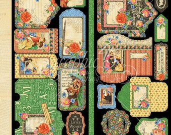 """Graphic 45 """"Little Women"""" Tags & Pockets  Newest Collection"""