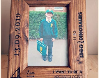 Personalised Engraved Wooden Photo frame 'First Day of School'