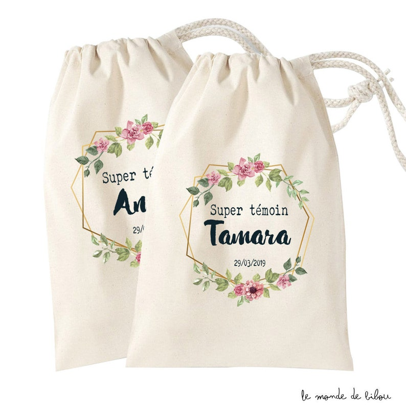 Personalised pooche bag super-witness Witness gifts souvenir Sac taille S cm