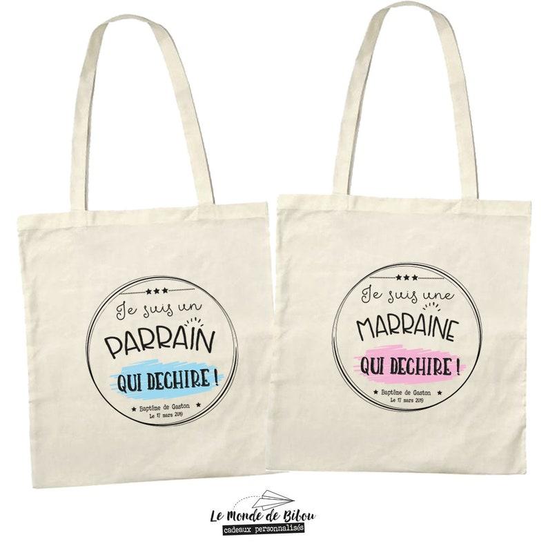 Deux jolis sacs à offrir à un parrain ou une marraine - Créatrice ETSY : lemondedebibou