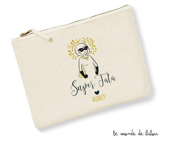 trousse pochette de sac message PETIT BAZAR D UNE SUPER TATIE cadeau personnalisable