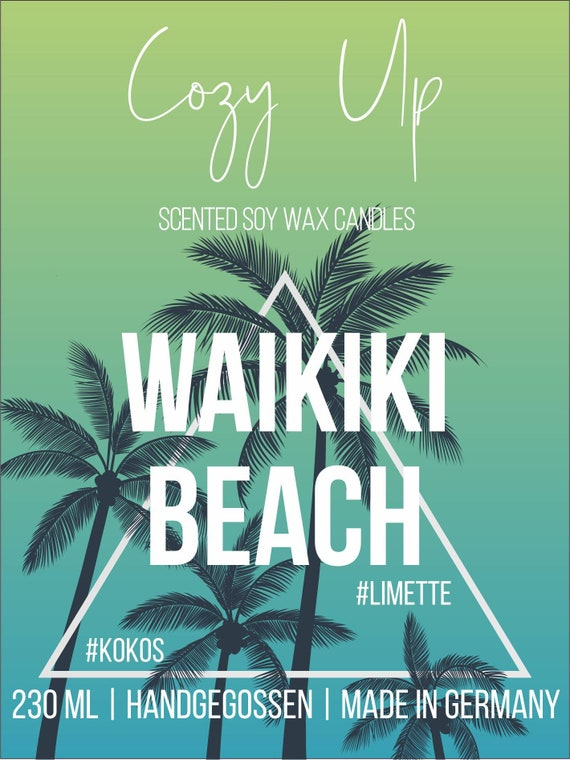 Waikiki Beach Cozy Up Candles Scented Candle In The Glass Of Soy Wax With Wood Wick Lime Coconut