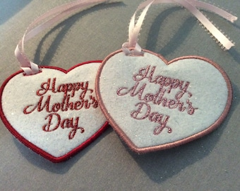 Mothers Day Gift Tag   Embroidered Heart