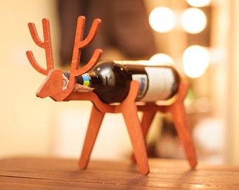 Wood wine rack Deer decor Wine lover gift Wine bottle holder Wine decor Wine accessory Wine gift Kitchen decor Living room Sale Wine holder