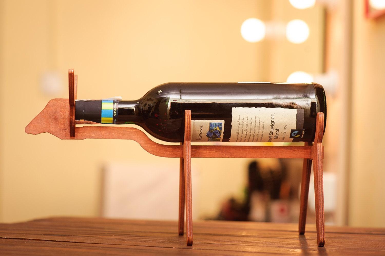Wooden Wine Holder Bull Wine Gift Ideas Wooden Wine Rack Wine | Etsy