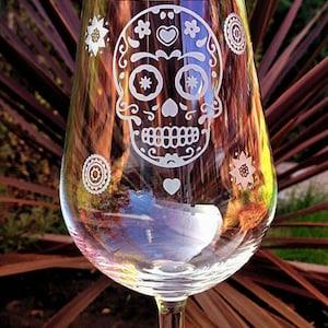 Set of 4 Sugar Skull Gothic Alternative Pastel Goth Wine Glasses