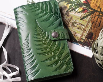 85cde3118f01 Green Leather Long Wallet for Women Ladies, Phone Cover, Women's Case  iPhone 6 Plus 7 Plus, Fern Botanical Ornaments, Nature inspired gift