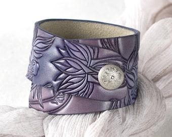 Black /& Blue Distressed Leather Cuff Bracelet