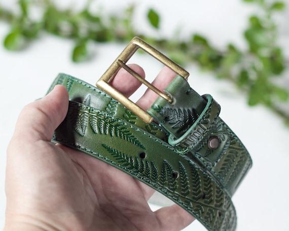 Green Leather Earrings Embossed Pattern Fern