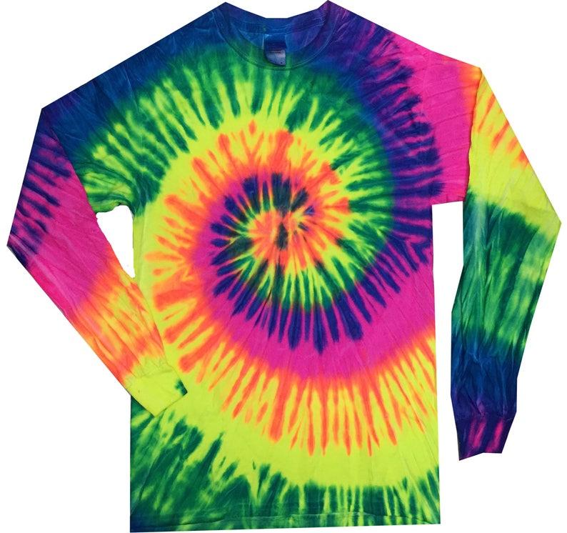 6f0c9eaf3962c1 Tie Dye T-Shirt Neon Rainbow Multi-Color Spiral Long Sleeve S