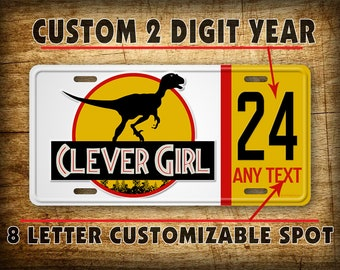 Personalized Jurassic Park Jeep License Plate Custom Year Dinosaur Auto Tag Sign