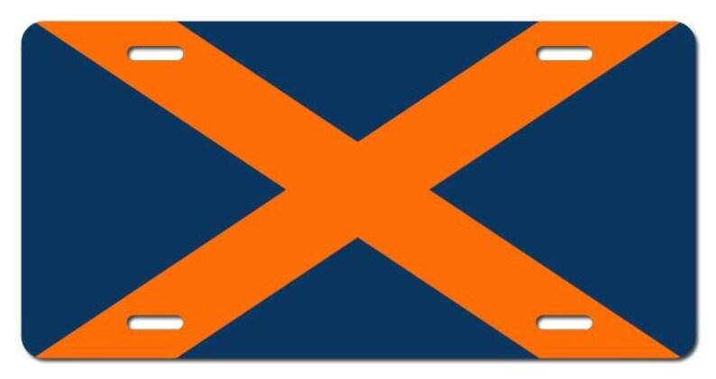 6ff95fadcb79 Alabama State Flag License Plate Auburn Orange and Blue Auto