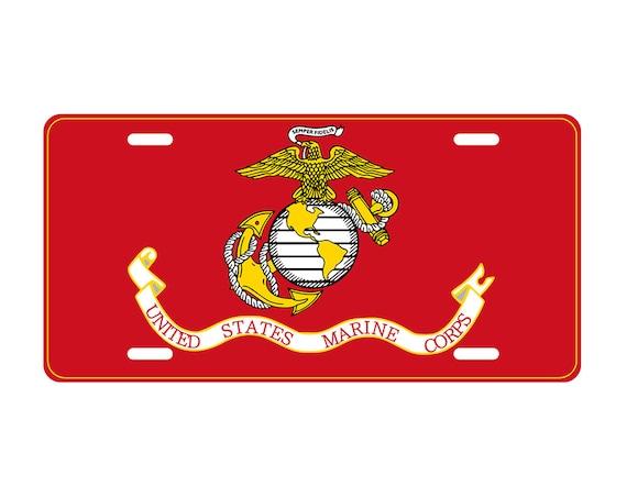 Aluminum Metal Car License Plate Eagle Emblems Once A Marine Always A Marine USMC Semper Fi