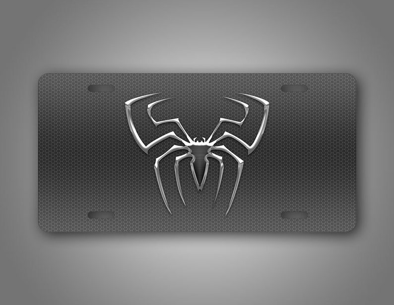 Spiderman Silver License Plate Superhero Spider Web Auto Tag Peter Parker Marvel