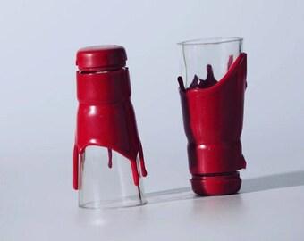 Maker's Mark Bourbon Whisky liquor bottle shot glasses Made From tops or necks of bottles