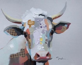 Pop Art Cow, White Background, Thick Abstract Texture, Hand Painted Oil and Paper on Canvas, Multicolored Patchwork Cow, Large Wall Art