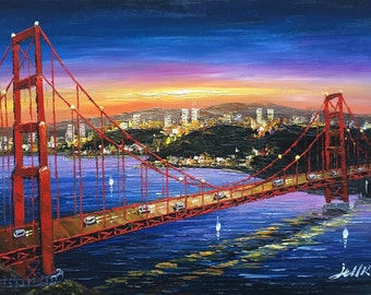 San Francisco Art, Golden Gate Bridge, Impressionistic Paitning of San Francisco Bay from Marin Headlands, Large San Francisco Wall Art