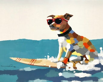 Pop Art Surf Dog with Sunglasses, White Background, Heavy Texture, Origianl Hand Painted Oil on Canvas, He's a Cool Dog, Large Wall Art