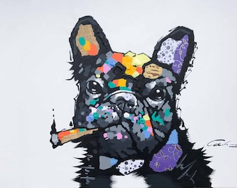 French Bulldog with Cigar, White Background, Heavy Texture, Origianl Hand Painted Oil on Canvas with Other Media, He's a Cool Frenchie