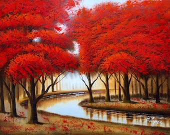 "Red Tree Forest with Bending River. 36"" x 48"" Hand Painted Oil Painting on Canvas. Comes stretched and ready to frame or hang."