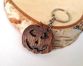 Wooden Carved Pumpkin Keychain, Walnut Wood, Halloween Keychain, Holiday Keychain, Friendly Green materials