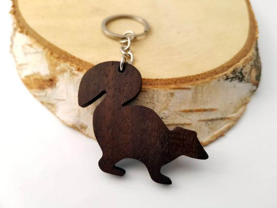 Hand Carved Wood Wolf Keychain lightweight wooden keychain neat collectible