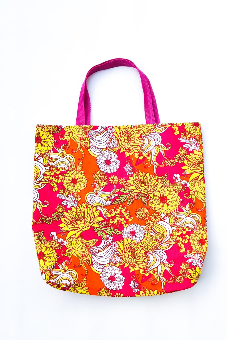Beach Bag Tote Bag Shopping Bag Carry-all Grocery Bag Bold Floral Reversible Bag