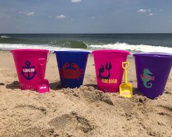 Personalized beach pail, beach bucket, name bucket, sand toy, beach toy, easter basket, beach pail, personalized beach bucket, party favor,