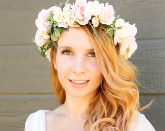 Ivory and Peach flower crown dde52f5adf6
