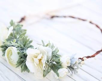 Wedding flower crown etsy ivory and dusty succulent grass flower crown flower headband wedding flower crown bridal flower crown bohemian flower crown side crown junglespirit Gallery