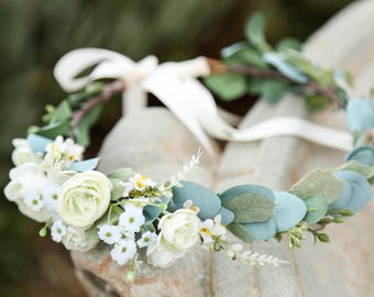 cfc69fffc73 White or blush pink sage eucalyptus flower crown