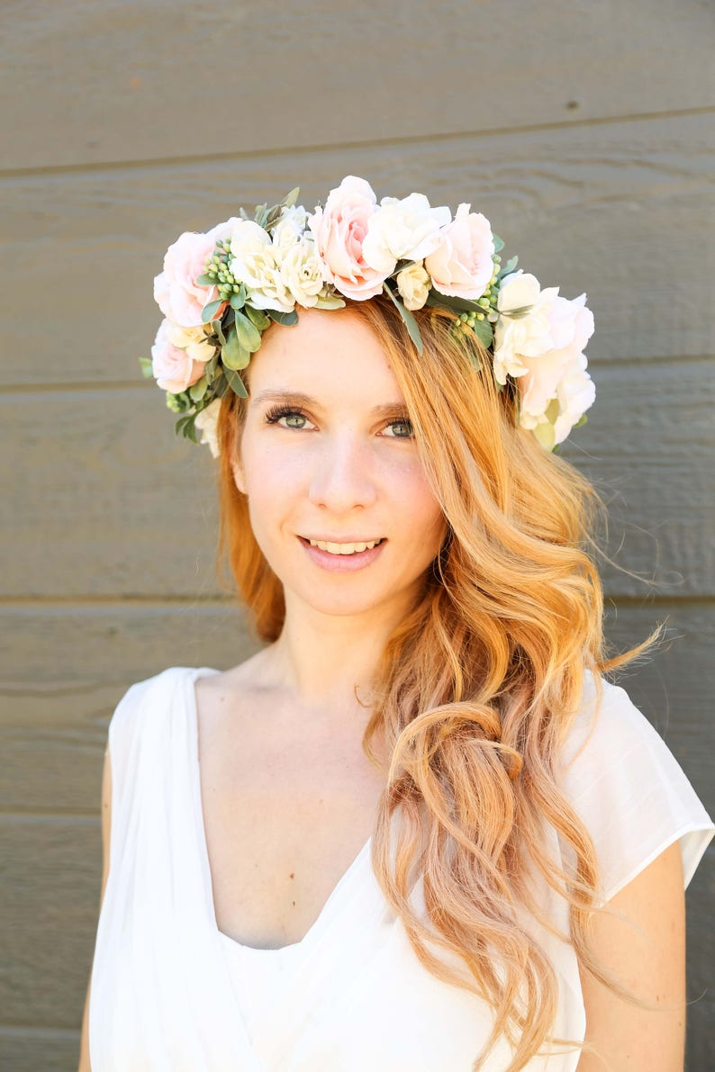 Flower Crown Wedding.More Colors Ivory And Peach Flower Crown Flower Headband Wedding Flower Crown Bridal Flower Crown Bohemian Flower Crown Floral Crown