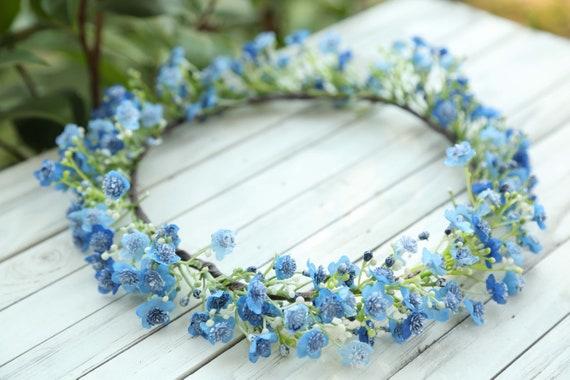 Blue or white Baby breath flower crown Flower headband  90748bb9e03