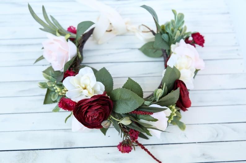 Fall flower crown headband burgundy and cream flower crown  5893e9dd63c