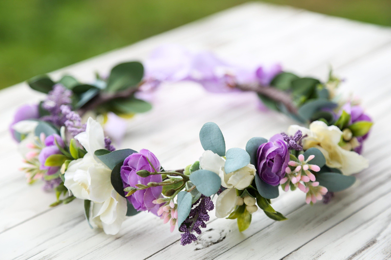 Lavender Ivory Flower Crown Lavender Hairpiece Wildflower Etsy