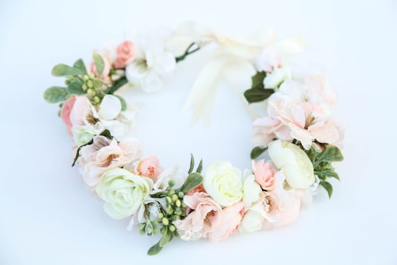 Pastel Flower Crownflower Headband Headband Wedding Flower Etsy