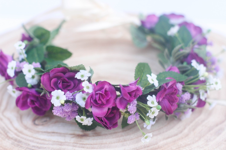 Purple flower crown headband girl flower crown headband etsy zoom izmirmasajfo