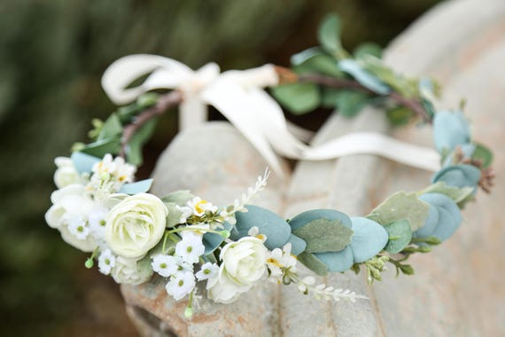 White or blush pink sage eucalyptus flower crown, Side Flower crown, wedding flower crown, bridal crown, bohemian crown, dainty floral crown