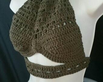 On Sale! - Brown Crochet Crop Halter Top