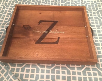 Custom Decorative Tray - Pallet Wood - With Hand Painted Names or Words