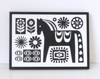 Dala Horse, Monochrome Nursery Print, Art Decor, Black and White Wall Art, Poster, Swedish Horse, Scandinavian Folk Art, Scandi Print