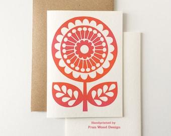 Retro Flower GREETINGS CARD, Orange Pink Floral Birthday Card, Blank Inside, 70s Inspired, Hand Screen-Printed